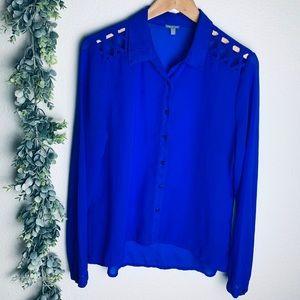 Charlotte Russ Sz L Vibrant Blue Button-up Blouse